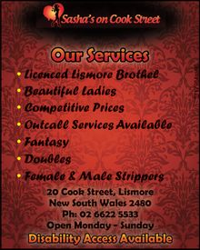 Our Services       Standard Services  Outcalls  Fantasy Services (doubles available)  Bi-Act  For Ladies (male & female)  Male to Male  Female & Male Strippers   Open Monday - Sunday   Disability Access Available