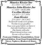 Maurice Kissier Snr 31.1.1931  11.7.1978 Maurice John Kissier Jnr 1.7.1955  18.05.2004 Ceceline Kissier 6.6.1971  21.7.1978 Joan Kissier 21.6.1933  30.5.2012 No farwell words were spoken No time to say goodbye Yous were gone before we ...