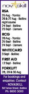RSA 25 Aug - Yamba 26 & 27 Aug - Ballina night course 24 Sept - Ballina 23 Sept - Lismore RCG 26 Aug - Yamba 25 Sept - Ballina 24 Sept - Lismore WHITECARD 3 Sept - Ballina FIRST AID 12 Sept - Ballina FORKLIFT 28, 29 & 30 Aug For bookings and enquiries: Contact - NOVASKILL 58 Tamar Street, Ballina ...