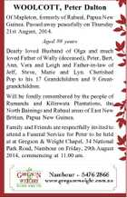 WOOLCOTT, Peter Dalton Of Mapleton, formerly of Rabaul, Papua New Guinea. Passed away peacefully on Thursday 21st August, 2014. Aged 88 years Dearly loved Husband of Olga and much loved Father of Wally (deceased), Peter, Bert, Ann, Vera and Leigh and Father-in-law of Jeff, Steve, Marie and Lyn. Cherished Pop ...