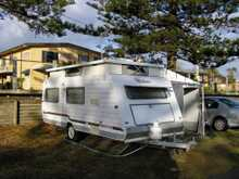 Roadstar Vacationer Poptop, 1999, 17', S beds, m'wave, lounge, dinette, r/out awning + walls, winegaurd antenna, all hoses & pegs, $15,500 ono. garaged, Broadwater, Phone 0429177042