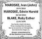 MAROSKE, Ivan (John) 19/9/2010 MAROSKE, Edwin Harold 26/10/2013 BLAKE, Ruby Esther 12/8/1979 Our family chain is broken, Three missing links are gone, But as we journey on through life, Our memories linger on. Always remembered by all the families & our friends.