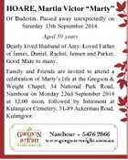 "HOARE, Martin Victor ""Marty"" Of Buderim. Passed away unexpectedly on Saturday 13th September 2014. Aged 50 years Dearly loved Husband of Amy. Loved Father of James, Daniel, Rachel, Jensen and Parker. Good Mate to many. Family and Friends are invited to attend a celebration of Marty's life at the ..."