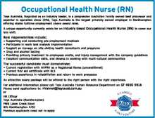 Occupational Health Nurse (RN)   Teys Australia, Regarded as an industry leader, is a progressive Australian Family owned beef processor and exporter in operation since 1946, Teys Australia is the largest privately owned employer in Rockhampton offering stable fulltime employment above award rates.   A unique opportunity currently exists for an Industry ...