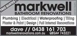 Plumbing | Electrical | Waterproofing | Tiling Plaster & Paint | Design | Full Internal Renovations  markwellrenovations.com.au QBSA# 743221