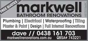 Plumbing | Electrical | Waterproofing | Tiling Plaster & Paint | Design | Full Internal Renovations markwellrenovations.com.au QBSA# 743221