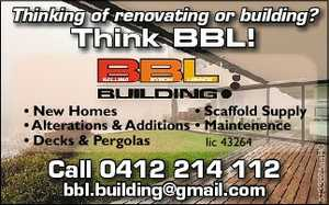 Thinking of renovating or building? * New Homes * Scaffold Supply * Alterations & Additions * Maintenence * Decks & Pergolas. lic 43264