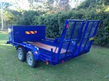 2006, Axle: 4x2, 2000kgs, Excellent condition, Blue, Brakes, Lighting, Heavy duty car / machinery trailer. As new with 4 wheel disc brakes, heavy duty Rocka springs, LED lights, large lockable compartment at front. Newly powdercoated. 3.5x2m deck., $5,500 McLeans Ridges. Contact: Bill P: 02 6628 8959 M: 0428 159 ...