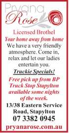 <p> <em>We have a very friendly atmosphere. Come in, relax and let our ladies entertain you. </em> </p> <p> Truckie Specials! </p> <p> Free pick up from BP Truck Stop Stapylton available some nights of the week. </p> <p> <em><strong>Our approved venue has been renovated with your comfort and pleasure in mind, it's a home away from ...</strong></em></p>