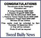 CONGRATULATIONS The winners of the Paddington Promotion are: M Irving Chinderah NSW 2487 L Gleeson Kingscliff NSW 2487 R Van Eck Murwillumbah NSW 2484 L Parsons Tweed Heads South NSW 2486 J Anderson Fingal Head NSW 2487 Winners will be notified. Prize packs must be collected by 3pm Thursday 18 ...
