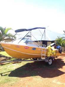 5.2M BOAT    75 Mercury on the back, 6 seater, all safety gear incl, lowrance gps & finder, loads extras on boat/trailer    $9,000