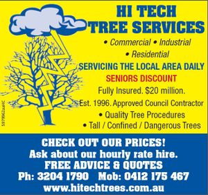 Hi-Tech Tree Services    Commercial  Industrial  Residential   Servicing the local area daily!