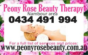 Peony Rose Beauty Therapy  Nambour area    0434 491 994    Luxurious Facials Swedish and Hot Stone Massage Waxing Tinting and more.    Visit my website for a full list of prices and the services we offer: www.peonyrosebeauty.com.au
