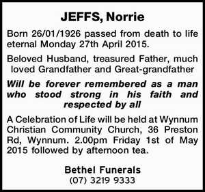JEFFS, Norrie