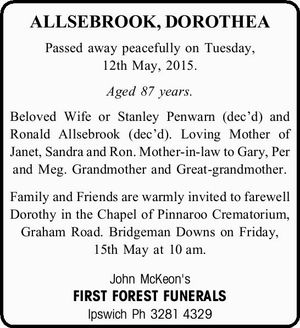 ALLSEBROOK, DOROTHEA