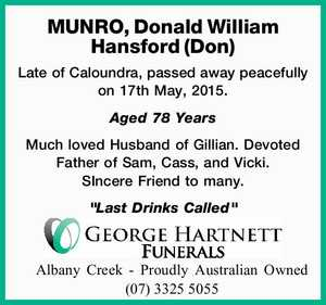 MUNRO, Donald William Hansford (Don)