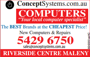Your local computer specialist.  For ALL your Computing Needs.   The BEST Brands at the CHEAPEST Price!   New Computers & Repairs.   RIVERSIDE CENTRE MALENY