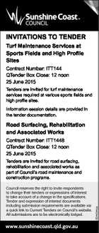 INVITATIONS TO TENDER Turf Maintenance Services at Sports Fields and High Profile Sites Contract Number: ITT144 QTender Box Close: 12 noon 25 June 2015 Tenders are invited for turf maintenance services required at various sports fields and high profile sites. Information session details are provided in the tender documentation. Road ...