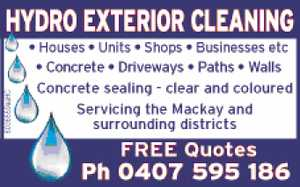 Houses   Units   Shops   Businssess etc   Concrete,   Driveways,   Paths   Walls   Concrete sealing - clear and coloured   Servicing the Mackay and surrounding districts   Free Quotes   Phone today!