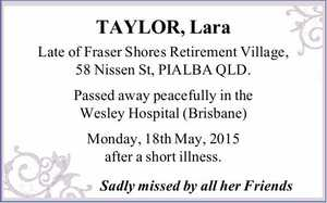 Late of Fraser Shores Retirement Village, 58 Nissen St, PIALBA QLD.