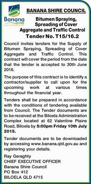 Bitumen Spraying, Spreading of Cover Aggregate and Traffic Control    Tender No. T15/16.2    Council invites tenders for the Supply of Bitumen Spraying, Spreading of Cover Aggregate and Traffic Control.   This contract will cover the period from the date that the tender is accepted to 30th June 2016. The purpose ...
