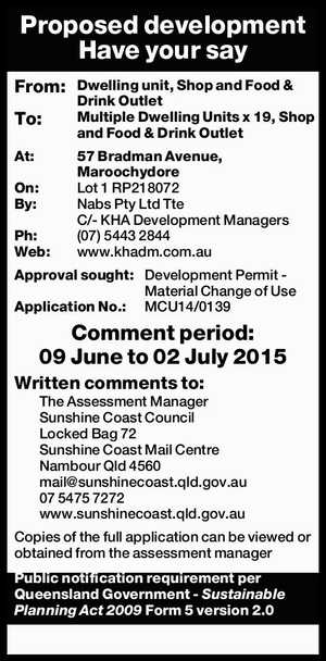 Proposed development Have your say From: Dwelling unit, Shop and Food & Drink Outlet To: Multiple Dwelling Units x 19, Shop and Food & Drink Outlet At: 57 Bradman Avenue, Maroochydore On: Lot 1 RP218072 By: Nabs Pty Ltd Tte C/- KHA Development Managers Ph: (07)5443 2844 Web: www.khadm.com ...