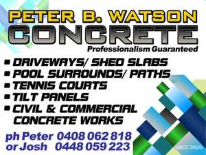 Driveways / shed slabs  Pool surrounds / paths  Tennis courts  Tilt panels  Civil & Commercial concrete works   Ph Peter 0408 062 818   or Josh 0448059223