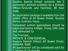 Permanent Schools Officer - Grounds & Facilities