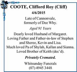 COOTE, Clifford Roy (Cliff)