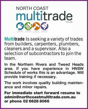 Multitrade Is seeking a variety of trades