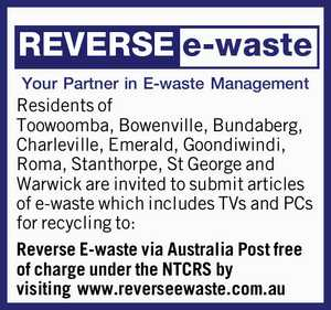 Your Partner in E-waste Management    Residents of Toowoomba, Bowenville, Bundaberg, Charleville, Emerald, Goondiwindi, Roma, Stanthorpe, St George and Warwick are invited to submit articles of e-waste which includes TVs and PCs for recycling to:   Reverse E-waste via Australia Post free of charge under the NTCRS by visiting   www.reverseewaste.com ...
