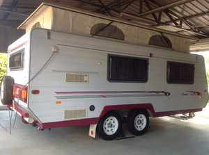 """SUIT NEW BUYER...2000 """"GOLF POP-TOP"""" in DALBY,QLD. REGISTERED to 30th.SEPT.2015. NON SMOKERS & NO PETS! Has aluminium frame; Tandem with 4 brand new tyres. Roll-out awning & new annex shade unused. Roomy..with twin beds, wardrobe & lounge. 4 burner gas hob with griller & exhaust fan. 3-way fridge & micro-wave ..."""