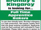 Full Time Apprentice Bakers