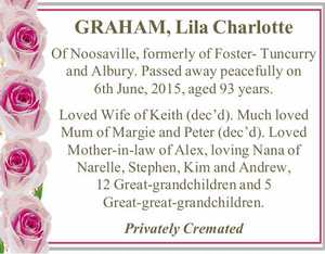 GRAHAM, Lila Charlotte