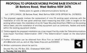 PROPOSAL TO UPGRADE MOBILE PHONE BASE STATION AT 28 Barlows Road, West Ballina NSW 2478. Telstra plans to ugrade a telecommunications facility at Lot 1 DP1134654, 28 Barlows Road, West Ballina NSW 2478 (RFNSA No. 2478003). 1.The proposed upgrade involves the replacement of nine (9) existing panel antennas with ...