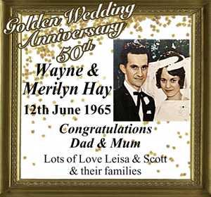 12th June 1965 Congratulations Dad & Mum Lots of Love Leisa & Scott & their families