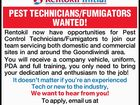 PEST TECHNICIANS/FUMIGATORS WANTED!