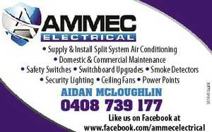 Supply & Install Split System Air Conditioning * Domestic & Commercial Maintenance * Safety Switches * Switchboard Upgrades * Smoke Detectors * Security Lighting * Ceiling Fans * Power Points