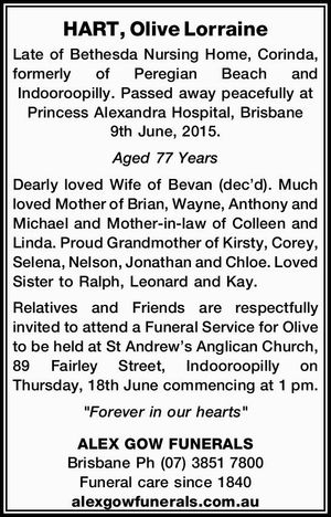HART, Olive Lorraine