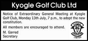 Notice of Extraordinary General Meeting at Kyogle Golf Club,