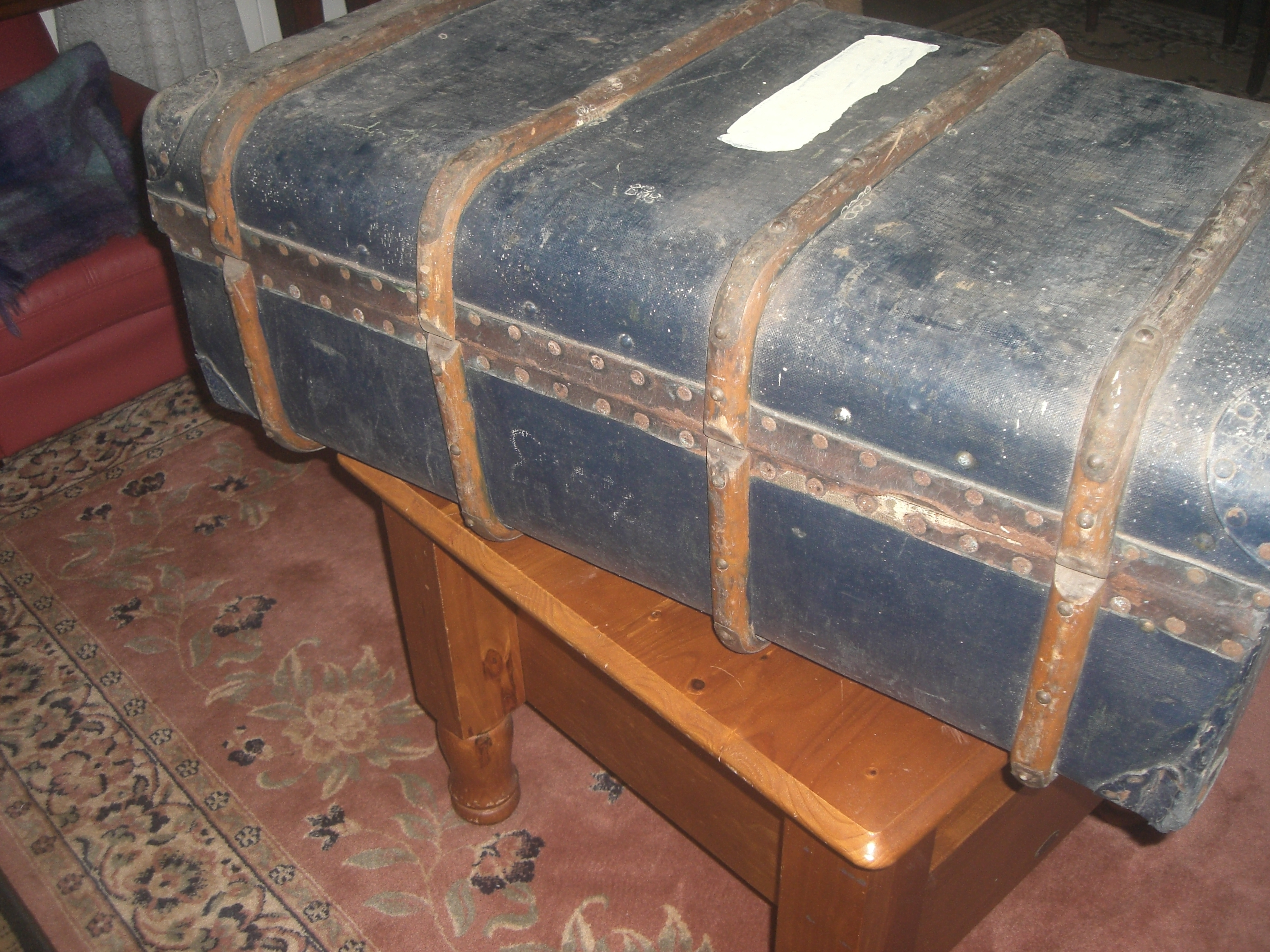 90 to 100 year old Trunk 4 Wooden straps in good condition for its age Blue in colour