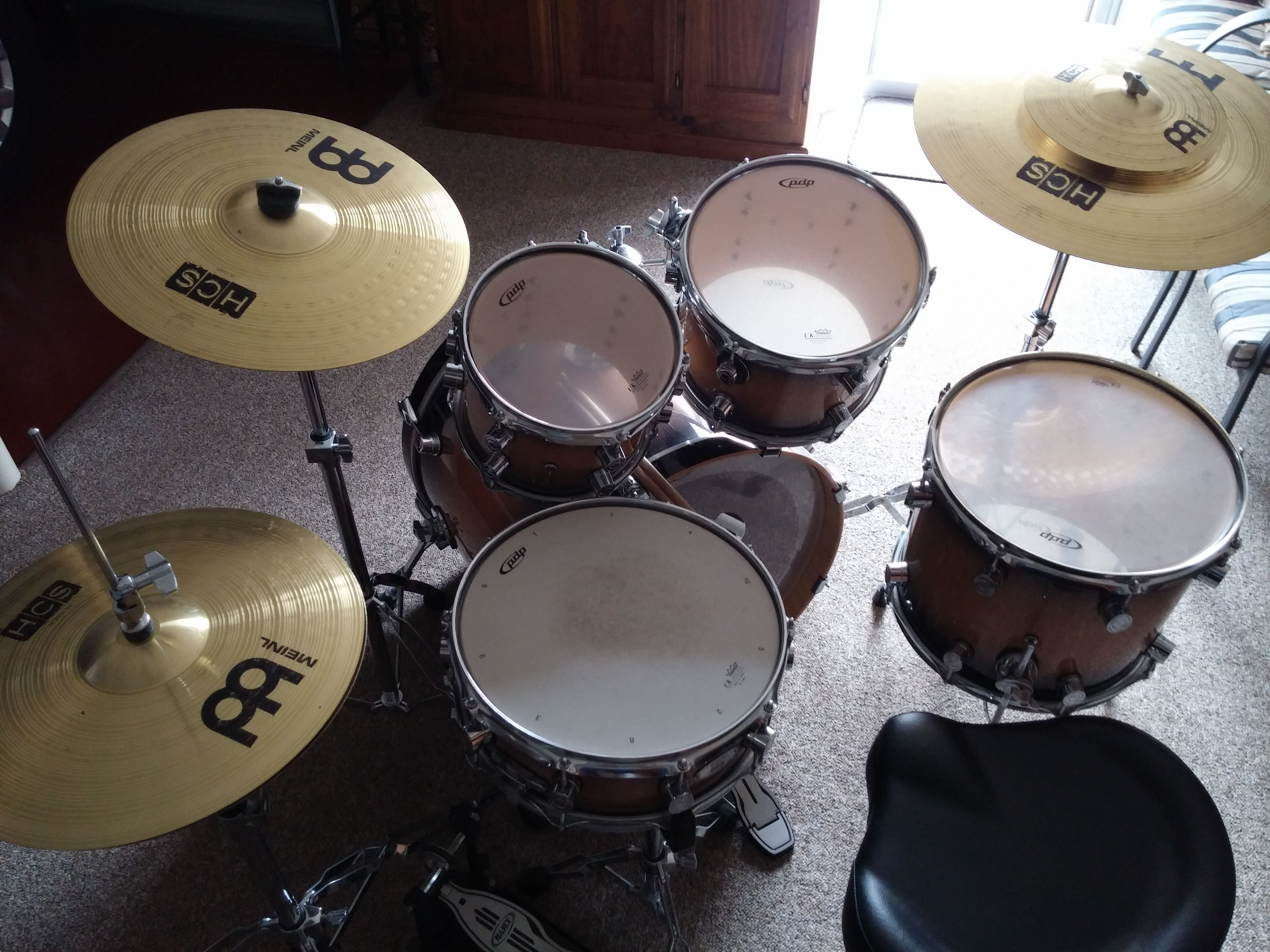 5pc drum kit (PDP) + 4 cymbals (HCS) + double and single kick + as new Mapex stool - All Good Condition - $1200 ono