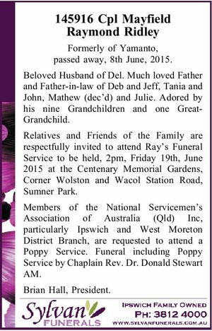 Formerly of Yamanto, passed away, 8th June, 2015.