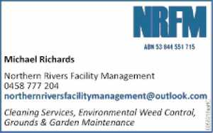 Michael Richards   northernriversfacilitymanagement@outlook.com  Cleaning Services,   Environmental Weed Control,   Grounds & Garden Maintenance
