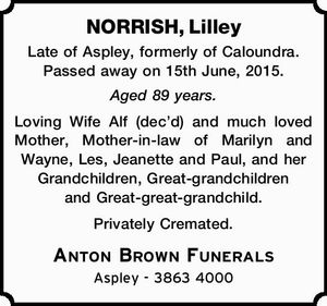 NORRISH, Lilley