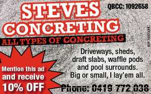 ALL TYPES OF CONCRETING    Driveways, sheds, draft slabs, waffle pods and pool surrounds.  Big or small, I lay'em all.   Phone: 0419 772 038   QBCC: 1092658