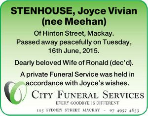 STENHOUSE, Joyce Vivian (nee Meehan)