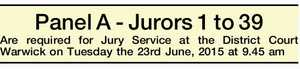 Panel A - Jurors 1 to 39 Are required for Jury Service at the District Court Warwick on Tuesday the 23rd June, 2015 at 9.45 am