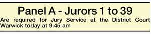 Panel A - Jurors 1 to 39 Are required for Jury Service at the District Court Warwick today at 9.45 am