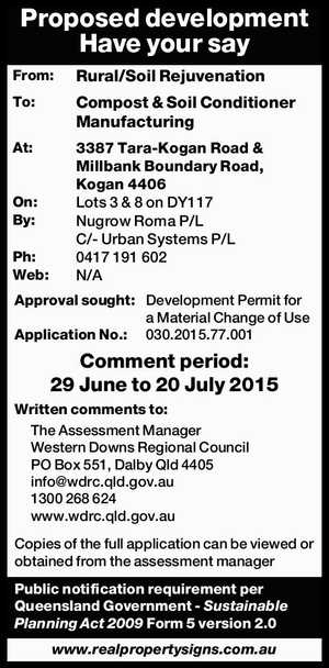 From: Rural/Soil Rejuvenation To: Compost & Soil Conditioner Manufacturing At: 3387 Tara-Kogan Road & Millbank Boundary Road, Kogan 4406 On: Lots 3 & 8 on DY117 By: Nugrow Roma P/L C/- Urban Systems P/L Ph: 0417 191 602 Web: N/A Approval sought: Development Permit for a Material Change of ...